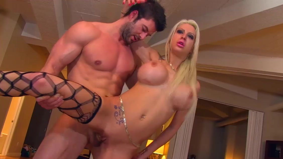 Blonde hooker Lexxxy Belle with big fake tits gets a cumshot