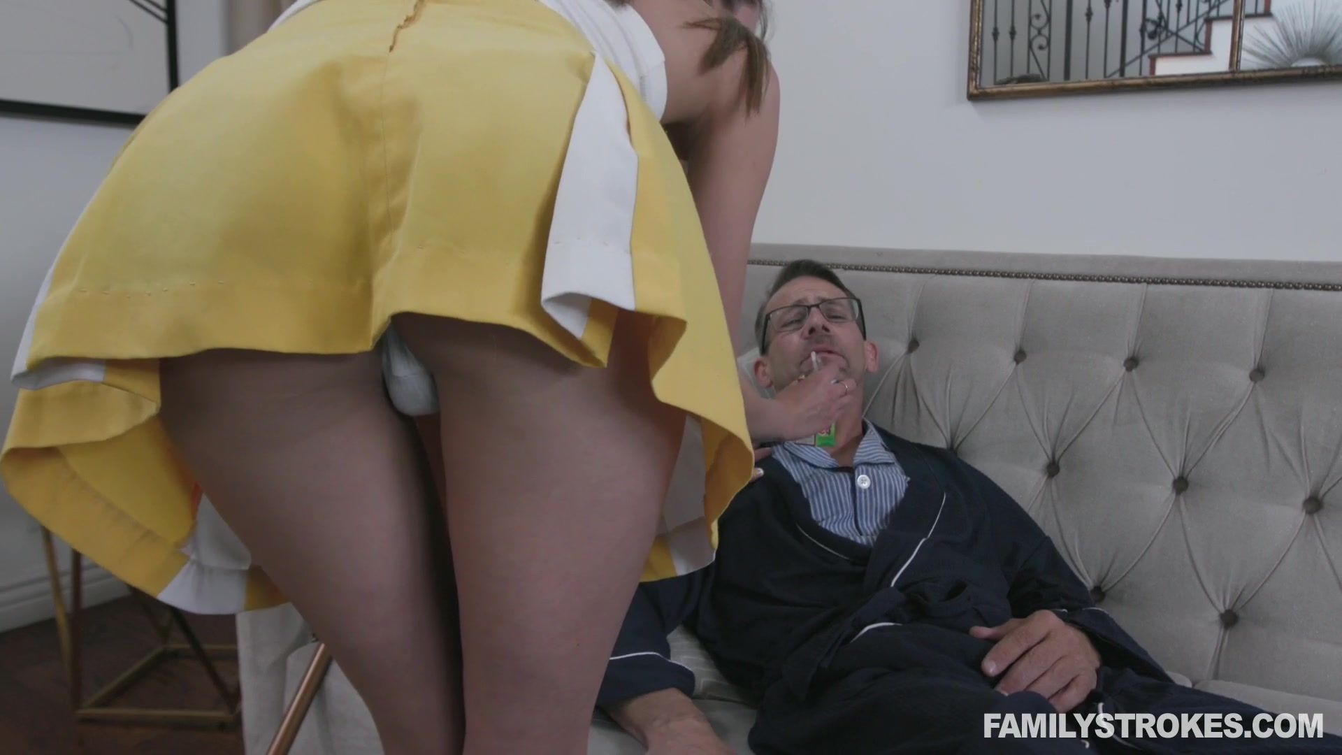 Horny grandpa fucking 19 yo step granddaughter in short skirt Zoe Sparx