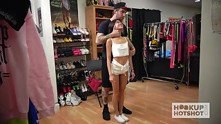 Horny dude helps charming Vina Sky to dress up for some kinky solo