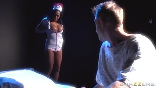 Naughty nurse Rio Lee fucked in her pussy and gets a cumshot