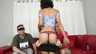 Skinny Asian chick with small ninnies Aria Skye is fucked by tattooed white man