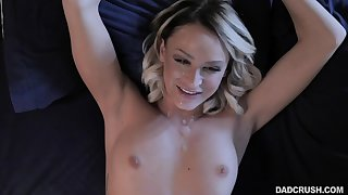 Sweet blonde gets cream on those fine lips in the end of a magical fuck