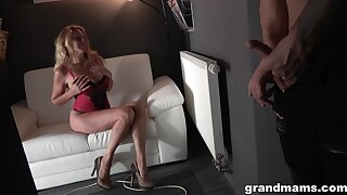 Blonde granny is super interested in getting fucked hard