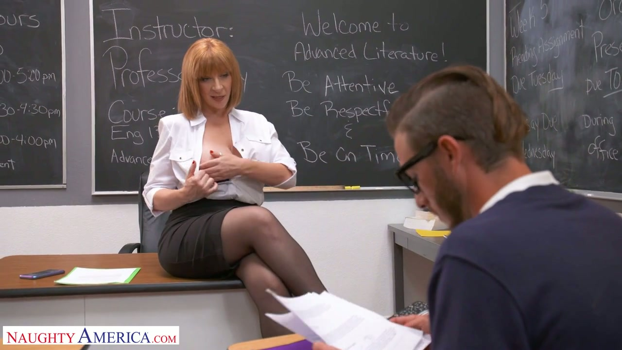 Perfectly shaped busty teacher Sara Jay seduces one of the students