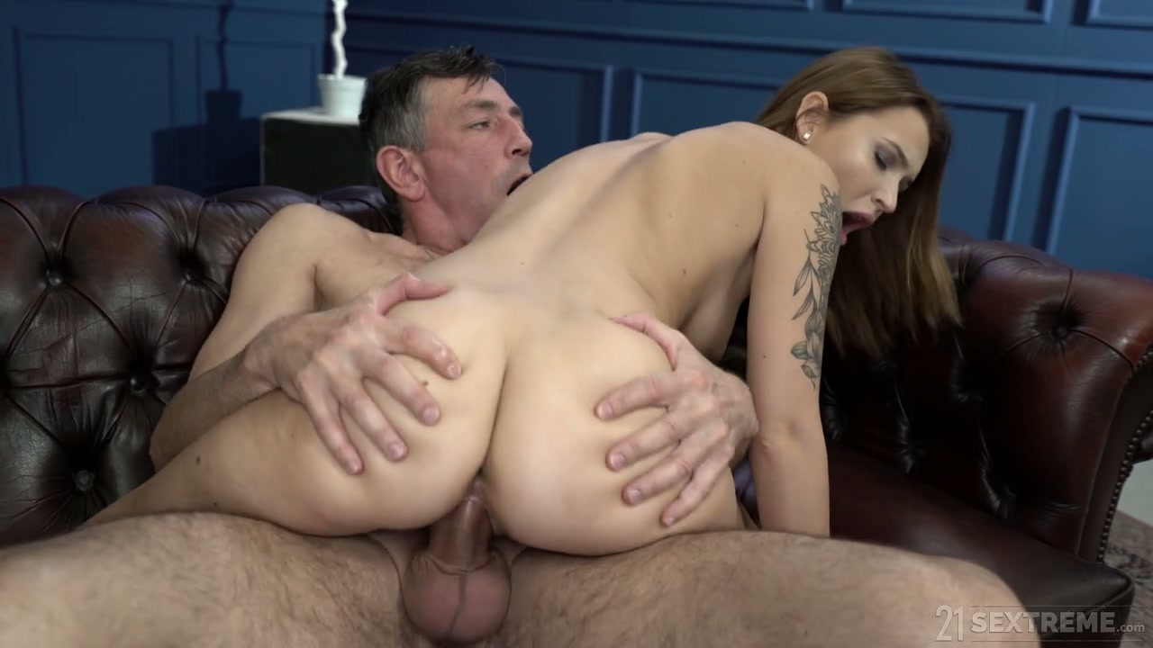 Tattooed pale nympho with sexy ass Shelley Bliss rides older man on top