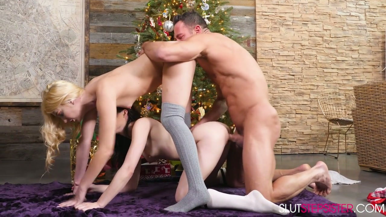 Pallid and slim Jenna J Ross shares dick to be fucked well on Xmas Eve